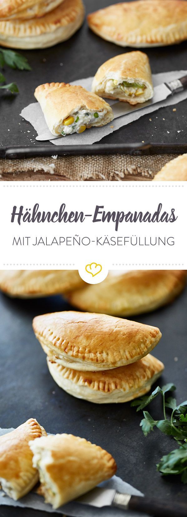 In den knusprigen Empanadas steckt jede Menge südamerikanisches Temperament. Wonach das schmeckt? Nach feurigen Jalapeños, Hähnchen, Mais und cremigem Käse.