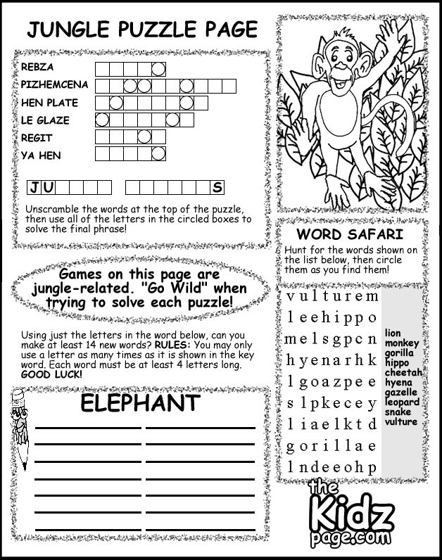 jungle puzzle activity sheet free coloring pages for kids printable colouring sheets - Fun Worksheets For Kids