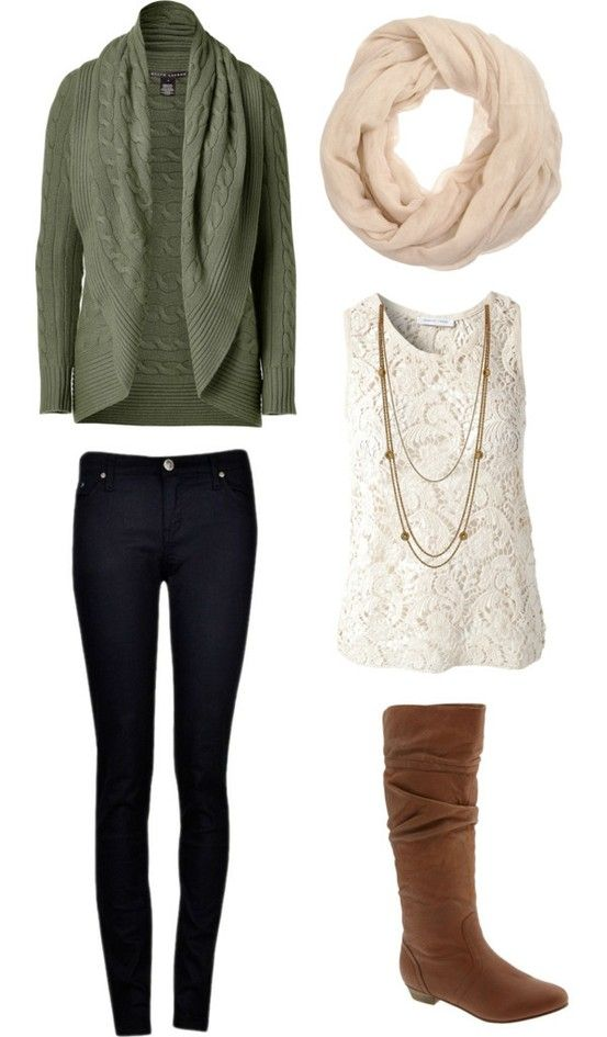 Black skinnies, lace top, olive cardi, brown boots, cream scarf