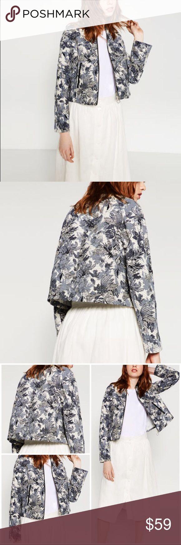 Zara Floral Jacquard Bomber Jacket Floral bomber jacket
