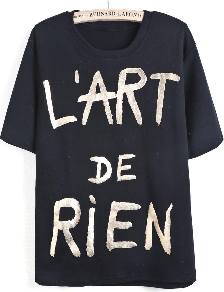 Camiseta letras dorados manga corta-negro EUR€18.23