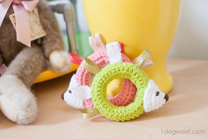 Hedgehog Taggie Baby Toy Crochet Pattern - Make one as a gift! | www.1dogwoof.com