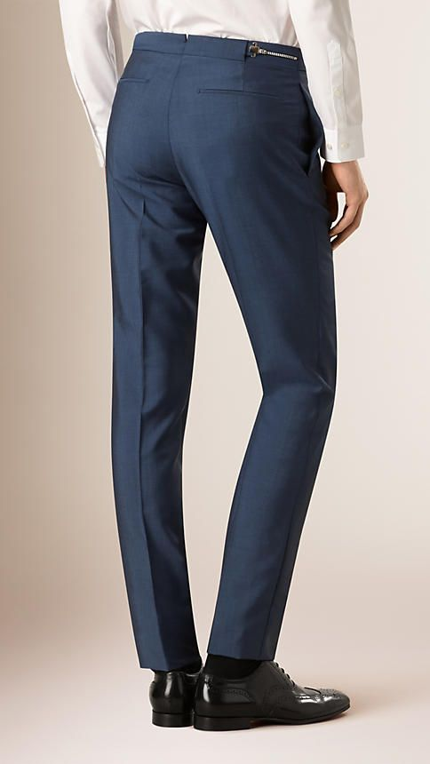 Burberry Pewter Blue Slim Fit Wool Mohair Trousers -  Ultra-fine wool and mohair trousers tailored for a slim fit with a narrow tapered leg.  The flat front design has a concealed hook, bar and zip closure, side adjusters and unfinished hems for custom tailoring. Discover men's tailoring at Burberry.com