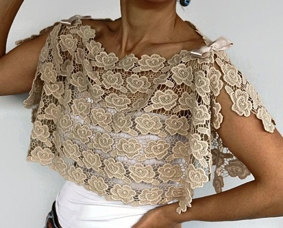Beige Cotton Lace Bridal Bolero Shrug Wedding by MammaMiaBridal