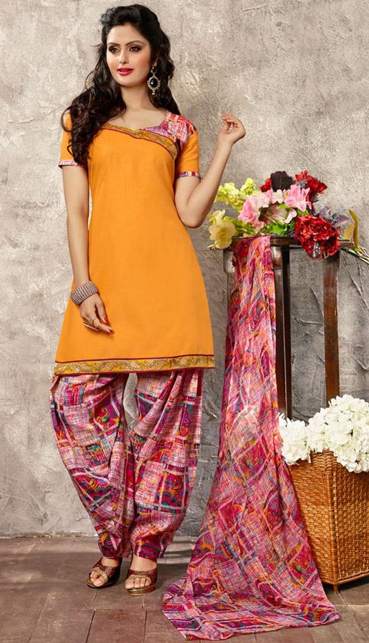 USD 23.27 Orange Cotton Punjabi Suit 44921 | Punjabi ...