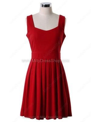 Red Straps Back Heart Cut Out Pleated Dress