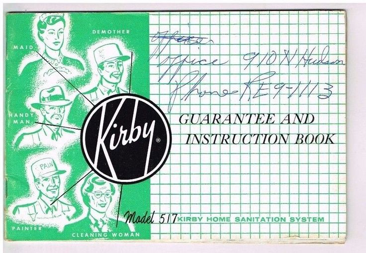 1957 Vintage Kirby Vacuum Cleaner Owners Manual Instruction Booklet Model 517 #Kirby