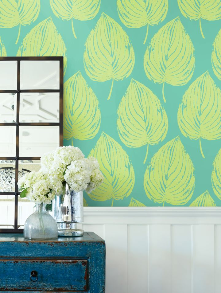 Dip into the Tropics with this wallcovering feature Large Tropical Leaves. From the Coastal Chic Collection from Wallquest