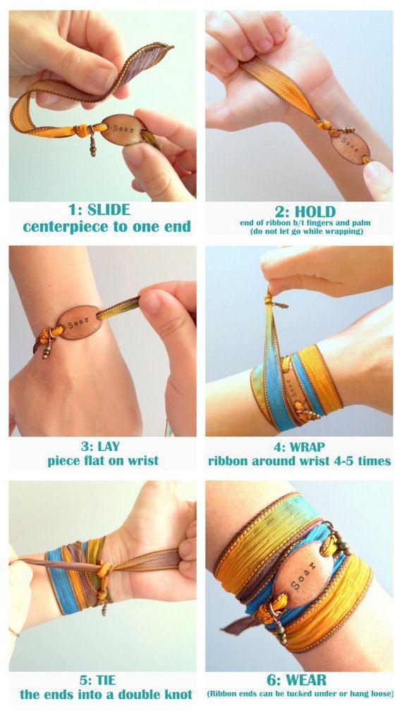 Silk Wrap Bracelet JOY ribbon wrap bracelet Indie by SailorStudio