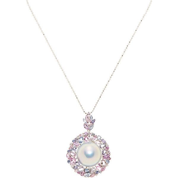 Tara Pearls Women's White South Sea Pearl, Multicolor Sapphire & 0.33... ($3,770) ❤ liked on Polyvore featuring jewelry, necklaces, white, sapphire necklace, sapphire diamond necklace, diamond pendant, white necklace and diamond necklace pendant