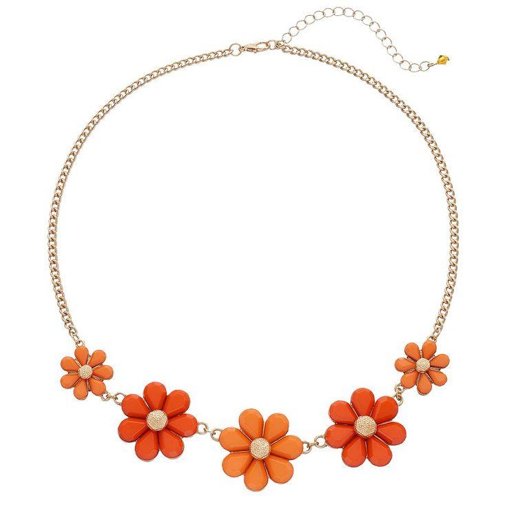 Graduated Orange Flower Necklace, Women's, Pink Other