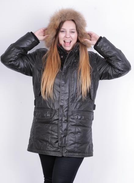 Milestone Womens L Jacket Parka Winter Cotton Hoodie Full Zipper Brown - RetrospectClothes