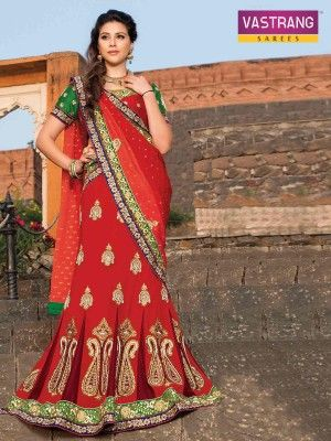 Vastrang Red saree with embroidery & patch work with art silk blouse