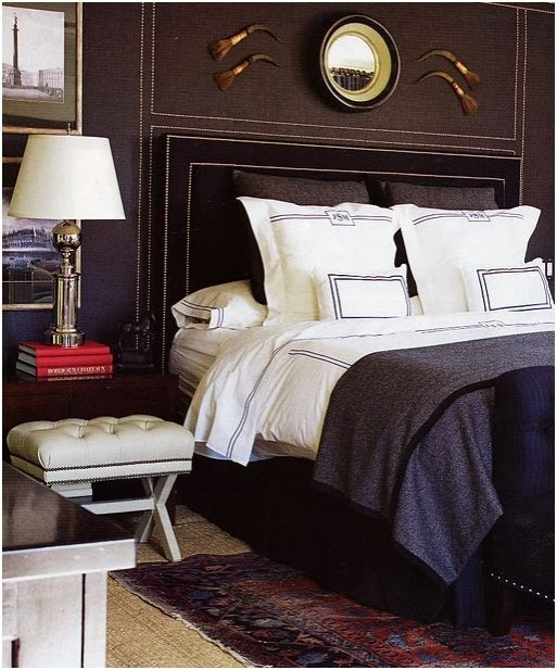 I love masculine interiors... especially for the bedroom. By mary macdonald nailhead trim bed + wall