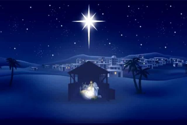 The Star Of Bethlehem Shines On The Manger Christmas