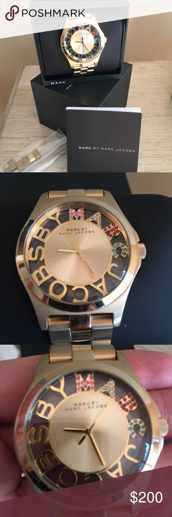 MARC BY MARC JACOBS SEE THROUGH WATCH Great watch with colored crystals. Extra links and original box. New battery. Marc by Marc Jacobs Accessories Watches