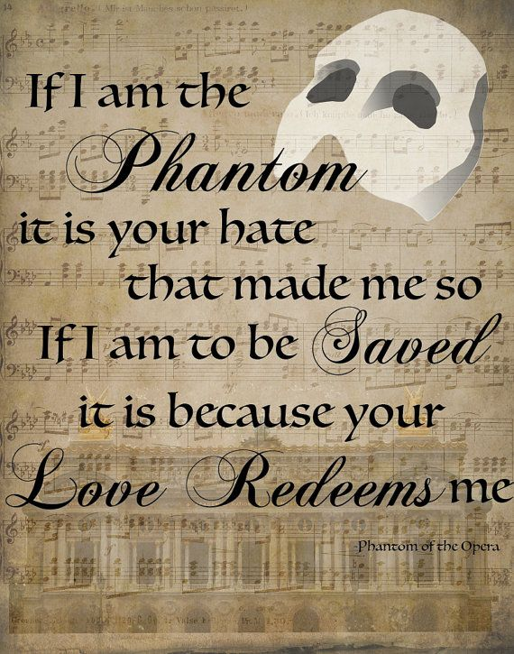 Phantom of the Opera Graphic Quote Print by ClassyGirlsDesign