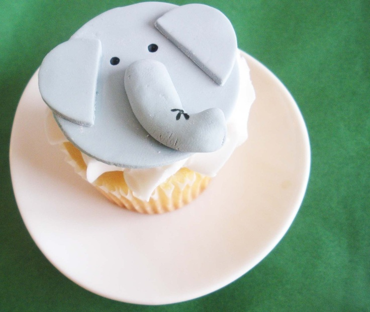 Elephant Fondant Cupcake Topper for Jungle or by TwoSugarBabies, $16.00