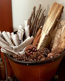 Pots for small twigs, pine branches, or twisted newspaper -- and kindling, which are larger. Some of the tools you'll want to have handy include a poker, tongs, a fireplace screen to stop wayward sparks, and a shovel, whisk broom, and dustpan to remove the ashes.
