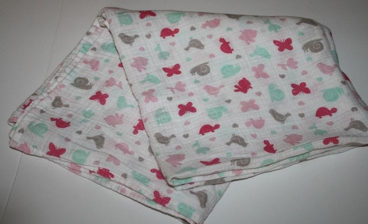 Carters Bird Snail Baby GIRL Gauze Receiving Swaddling Cotton MUSLIN Blanket #Carters
