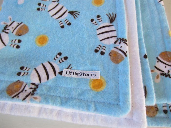Dancing Zebra Flannel Baby Blanket - Soft Blue and White | by LittleStarrs |