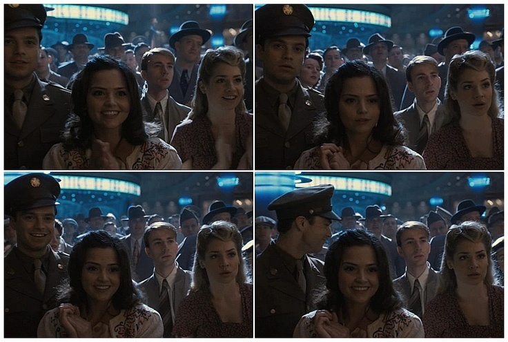 """When Doctor Who meets Marvel Studios - Jenna Louise Coleman in Captain America: The First Avenger - on a date with Steve Rogers and James """"Bucky"""" Barnes at the Stark Expo in 1943!"""