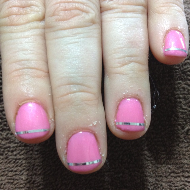 Pink shellac nails with silver line