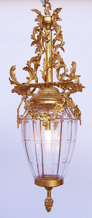 """An Ornate French 19/20th Century Gilt-Bronze and Moulded Glass """"Versailles"""" Style Hanging Lantern. Circa: Paris, 1900."""