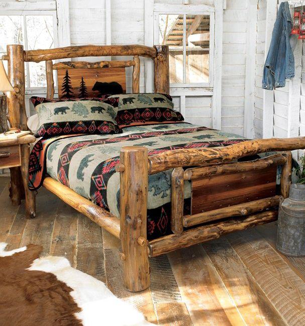 Aspen Creek Log Bear Bed, rustic bedroom collection