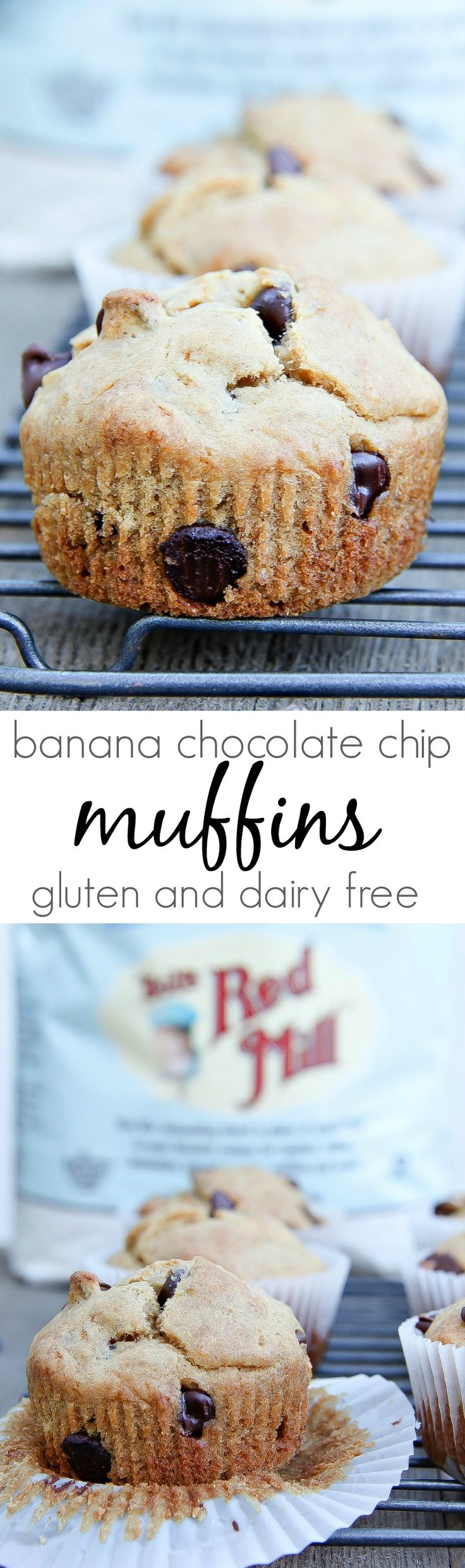 Gluten-Free Banana Chocolate Chip Muffins Recipe on the Blog: BobsSpringBaking AD @BobsRedMill healthy eating, gluten free, non Dairy Homemade