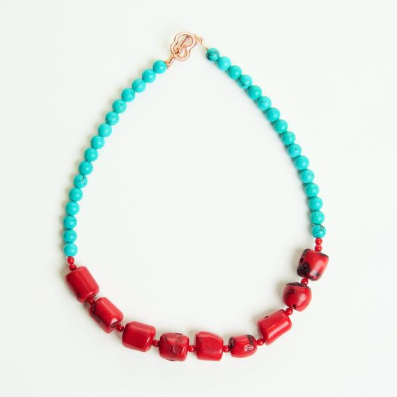 Red Coral and Turquoise Necklace, Samburu Woman Necklace, Natural corals and Turquoise stones, Ethnic bohemian Necklace, Red and blue
