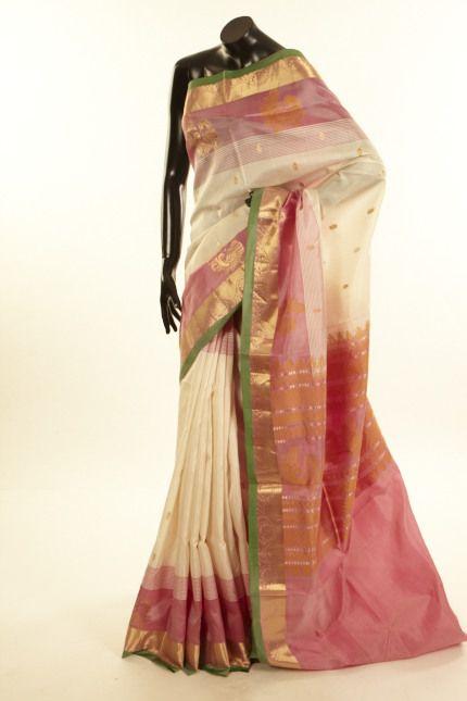 silk light ivory cream saree with blouse