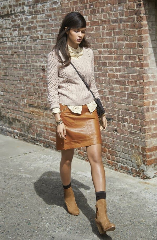 brown leather skirt and sweater with button up underneath fall fashion