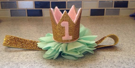 Pink gold mint first birthday crown pink mint by KenzeesKloset