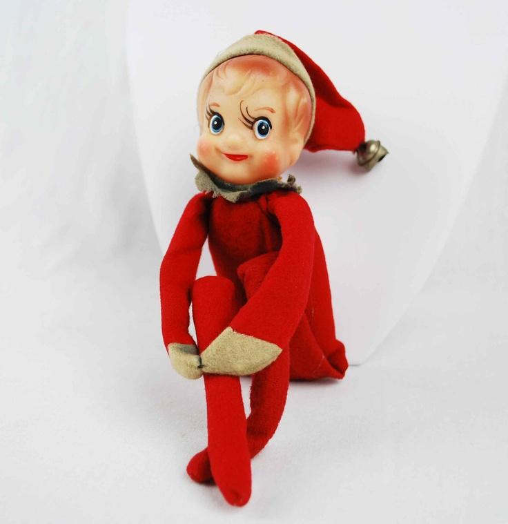 1950s Christmas Elf Doll / Vintage Christmas Ornament Decoration