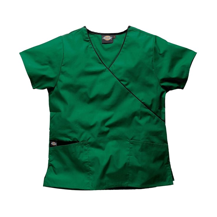 Dickies Mock Wrap Hunter Green Scrub Top HC11601 | This Dickies scrub top is a favourite with a veterinary customers looking for vet uniforms, vet scrubs and vet nurse uniforms.