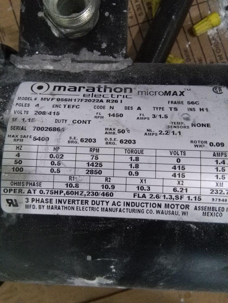 Marathon Electric MVF 056H17F2022A R26 I motor is now Y378 / 56H17F2022