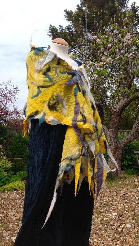 Yellow silk georgette nuno felted wool shawl wrap by Angelab5705 £79