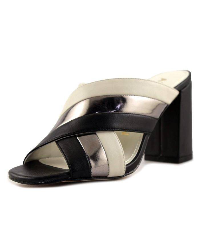 ANNE KLEIN | Anne Klein Wileta Women  Open-Toe Leather Black Mules #Shoes #Oxford #ANNE KLEIN