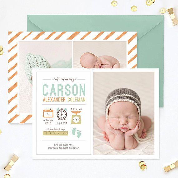 SALE Birth Announcement Template Birth by hazyskiesdesigns on Etsy