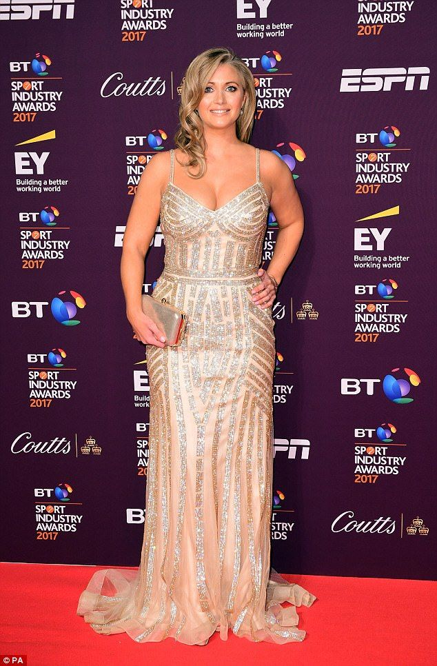 Golden girl: Hayley flaunted her tanned, athletic figure in the sparkling dress which feat...