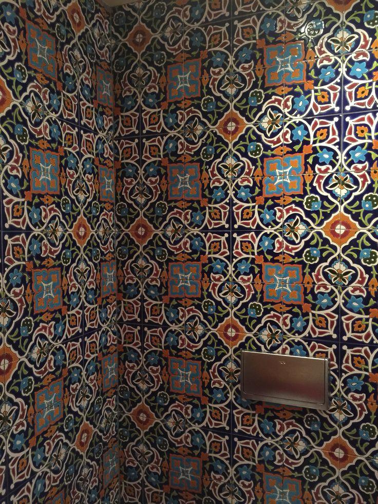 Pattern Wallcower in toilet. Restaurant interior. Amsterdam Bazar.