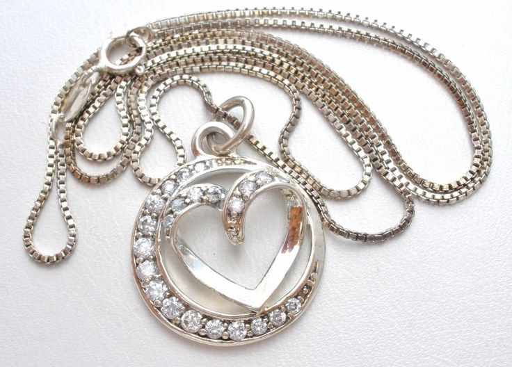 """Sisters Always Sterling Silver Heart Necklace with Clear Cubic Zirconias 18""""   Jewelry & Watches, Fine Jewelry, Fine Necklaces & Pendants   eBay!"""