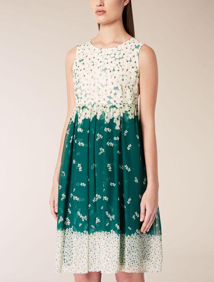 Silk georgette dress, emerald - VINCITA Max Mara