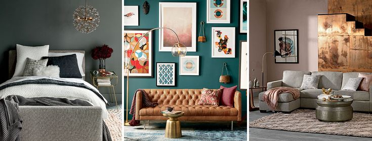 Middle color is SW 7618 Deep Sea Dive.  You could do a color like this as an accent wall in spare bedroom.