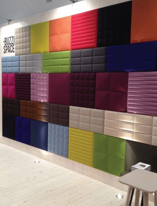 Wall tiles to help soundproof the Fun room in a creative colorful way.