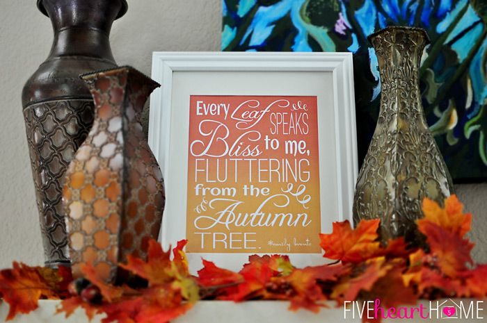 """Free Printable """"Fluttering Leaves"""" Fall Quote  This lovely thought by Emily Bronte will get you in the exhilarating spirit of falling leaves, crisp apples, comfort food and giving thanks. Fits an 8x18 frame,  Download @: http://fivehearthome.com/2013/09/18/fluttering-leaves-fall-quote-by-emily-bronte-free-printable/"""