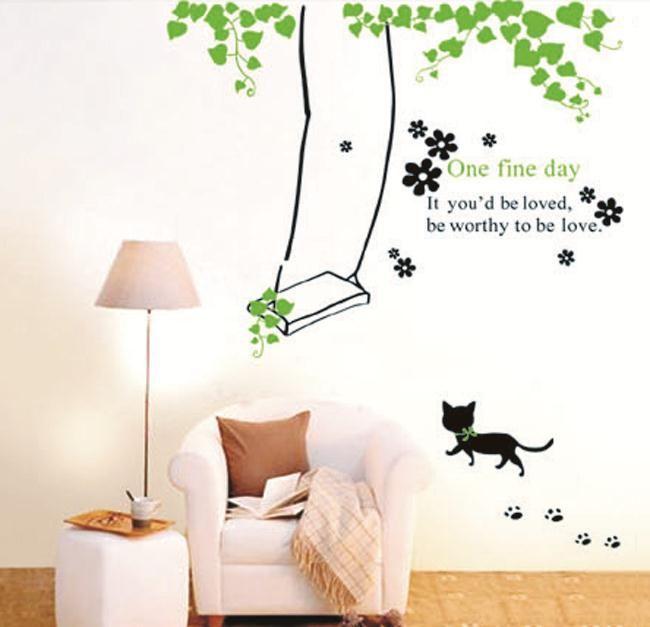 Наклейки на стены дети декор для дома мультфильм экологичный наклейки тв наклейки отделки стен самоклеящиеся пвх котенок качели