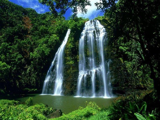 Opaekaa Falls, Kauai, Hawaii, Waterfall, wallpaper