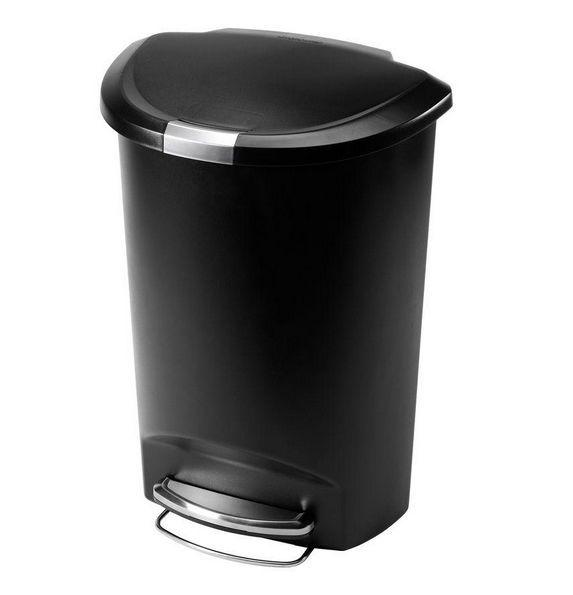 Semi Round Plastic 50 Liter Step Garbage Trash Can Indoor